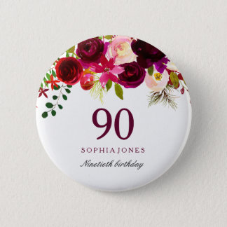 Burgundy Red Floral Boho 90th Birthday Party 2 Inch Round Button