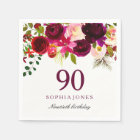 Burgundy Red Floral Boho 90th Birthday Party Paper Napkin