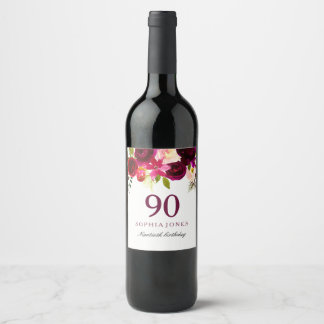 Burgundy Red Floral Boho 90th Birthday Party Wine Label