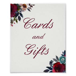 Burgundy Red Floral Cards And Gifts Wedding Poster