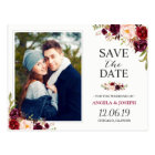 Burgundy Red Floral Chic Save the Date Photo Postcard