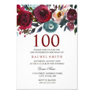 Burgundy Red Floral Elegant 100th Birthday Invite
