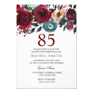 Burgundy Red Floral Elegant 85th Birthday Invite