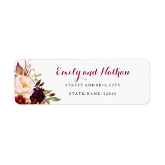 Burgundy Red Floral Fall Return Address Label