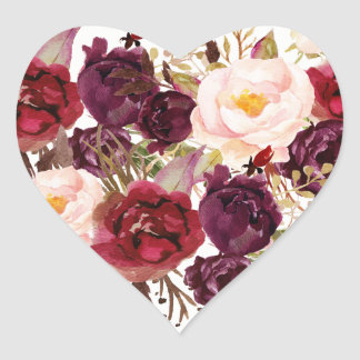 Burgundy Red Floral Fall Wedding Heart Seal
