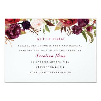Burgundy Red Floral Fall Wedding Reception Card