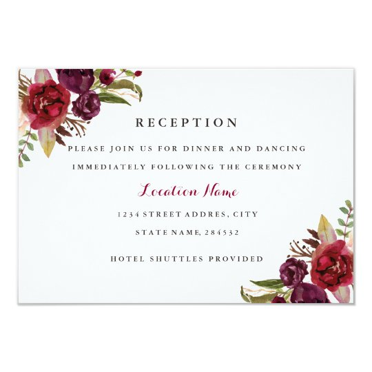Burgundy Red Floral Fall Wedding Reception Card