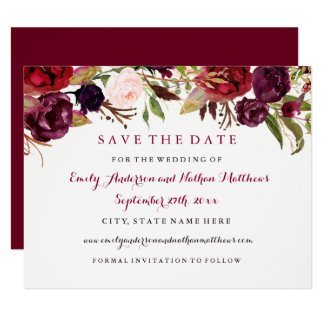 Burgundy Red Floral Fall Wedding Save The Date Card
