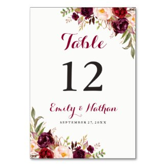 Burgundy Red Floral Fall Wedding Table Number