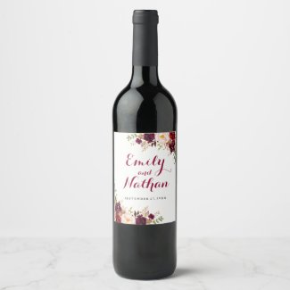 Burgundy Red Floral Fall Wedding Wine Label