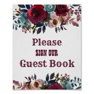 Burgundy Red Floral Guest Book Wedding Sign