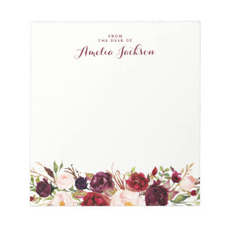 Burgundy Red Floral Personalized Social Stationery Notepad