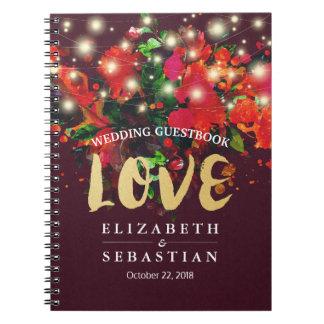 Burgundy Red Floral String Light Wedding Guestbook Spiral Notebook