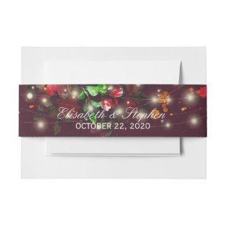 Burgundy Red Floral String Lights Wedding Shower Invitation Belly Band
