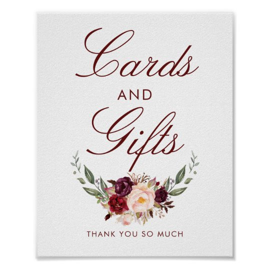 Travel Gift Vouchers Wedding Gifts: Burgundy Red Floral Wedding Cards And Gifts Sign