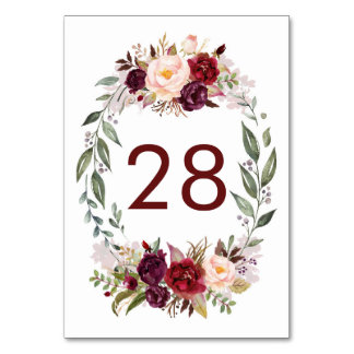 Burgundy Red Floral Wedding Table Number Cards