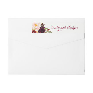 Burgundy Red Floral Wrap Around Label