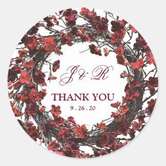 Burgundy Red Floral Wreath Monogram Wedding Classic Round Sticker