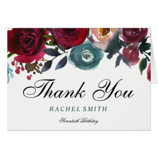 Burgundy Red Flowers 70th Birthday Thank You Card