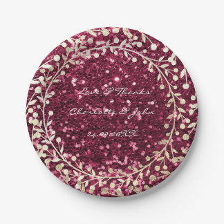 Burgundy Red Glitter Foxier Gold Wreath Garland 7 Inch Paper Plate