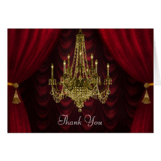 Burgundy Red Gold Chandelier Thank You Cards