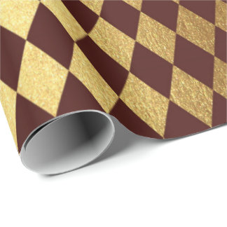Burgundy Red Gold Geometry Chessboard Diamond Cut Wrapping Paper