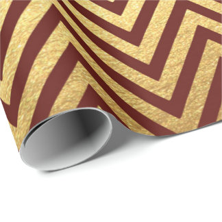 Burgundy Red Gold Stripes  Lines Zig Zag Chevron Wrapping Paper