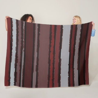 Burgundy Red Gray Mauve Taupe Stripes Pattern Fleece Blanket