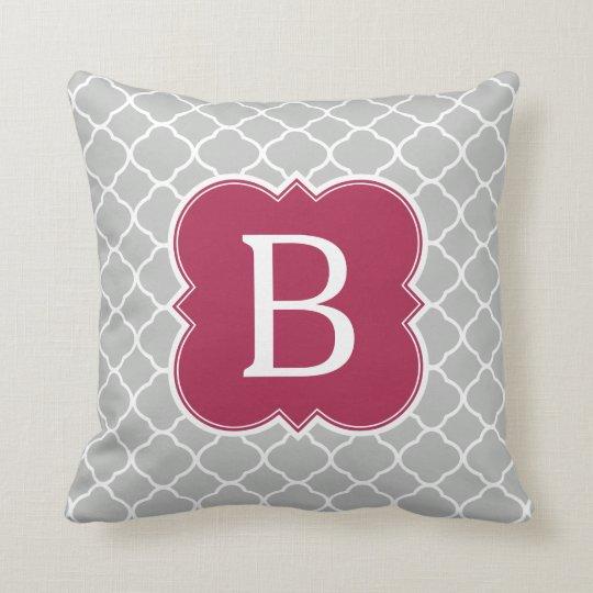 Burgundy Red Grey Monogram Quatrefoil Throw Pillow