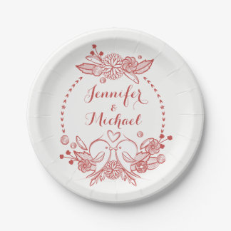 Burgundy Red Lovebirds Floral Wreath Wedding Party Paper Plate