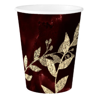 Burgundy Red Marble Stone Golden Foil Girlande Paper Cup