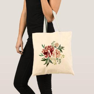Burgundy Red Maroon Watercolor Floral Monogram Tote Bag