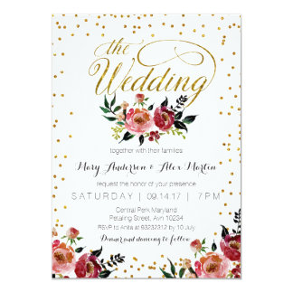 Burgundy Red Marsala Autumn Wedding Invitation