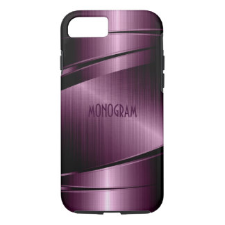 Burgundy-Red Metallic Design Stainless Steel Look iPhone 7 Case