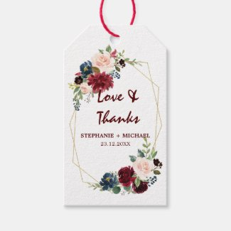 Burgundy Red Navy Floral Geometric gift tag