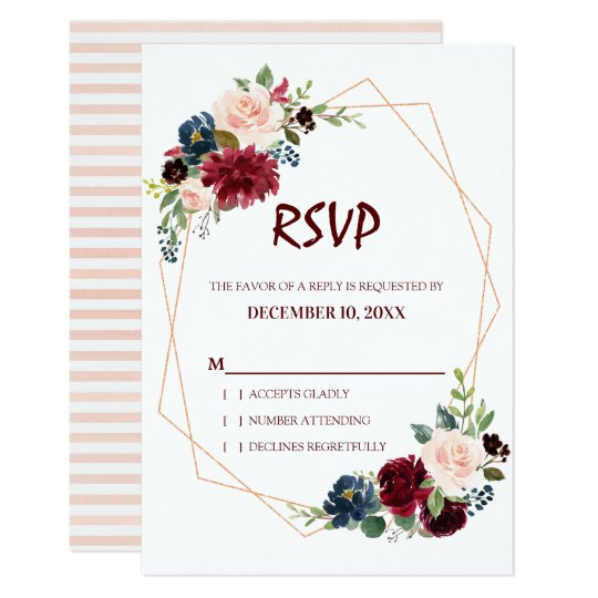 Burgundy Red Navy Floral Geometric RSVP card