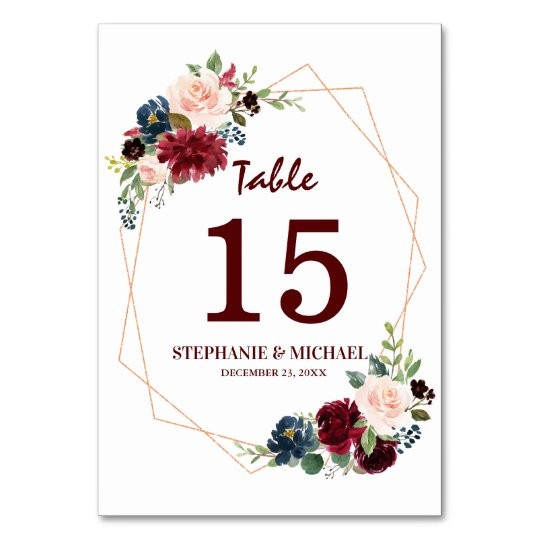 Burgundy Red Navy Floral Geometric Table Number