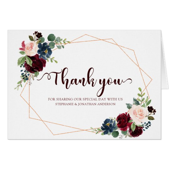 Burgundy Red Navy Floral Geometric Thank you Card