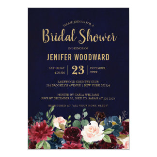 Burgundy Red Navy Floral Rustic Boho Bridal Shower Card
