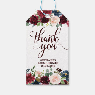 Burgundy Red Navy Floral Rustic Boho Gift tag