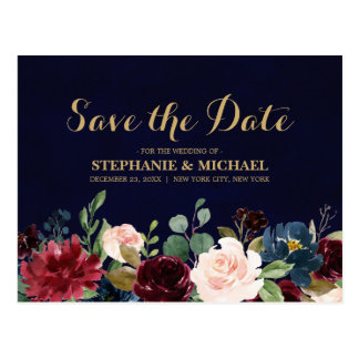 Burgundy Red Navy Floral Rustic Boho Save the Date Postcard