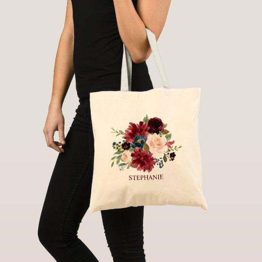 Burgundy Red Navy Floral Rustic Boho Tote bag
