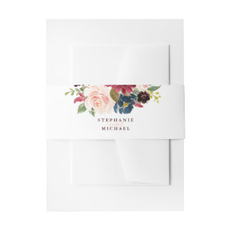 Burgundy Red Navy Floral Rustic Boho Wedding Invitation Belly Band