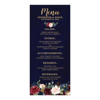 Burgundy Red Navy Floral Rustic Boho Wedding Menu