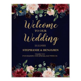 Burgundy Red Navy Floral Rustic Boho Wedding Sign