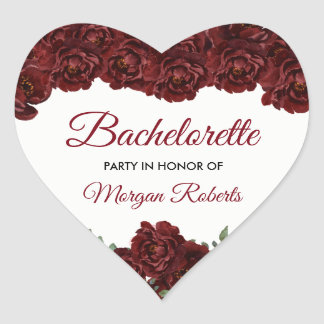 Burgundy Red Rose Bachelorette Party Heart Sticker