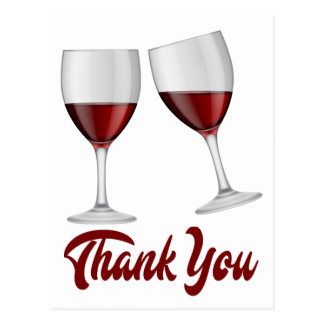 Burgundy Red Thank You Wine / Champagne Glasses Postcard
