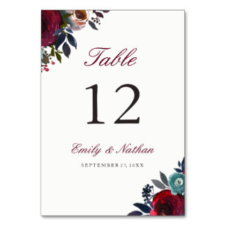 Burgundy Red Watercolor Floral Table Number Cards