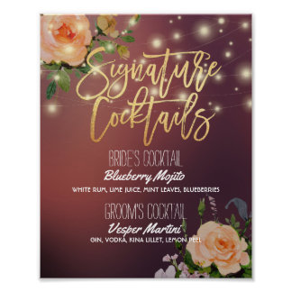Burgundy Red Wedding Signature Cocktail Drink Menu Poster