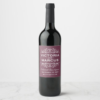 Burgundy Red Wedding Wine Bottle Favor Wine Label